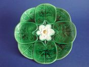 Large Adams and Bromley Majolica 'Water Lily' Plate c1880 #2